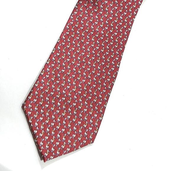 Pravata Other - Pravata Silk Necktie Red with Ducks
